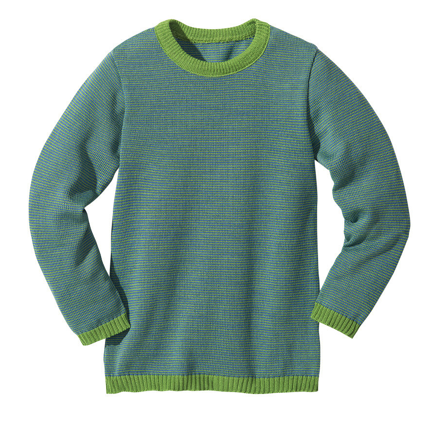 4c47ed34fb6 DISANA Lehký svetřík merino vlna modrá zelená melange