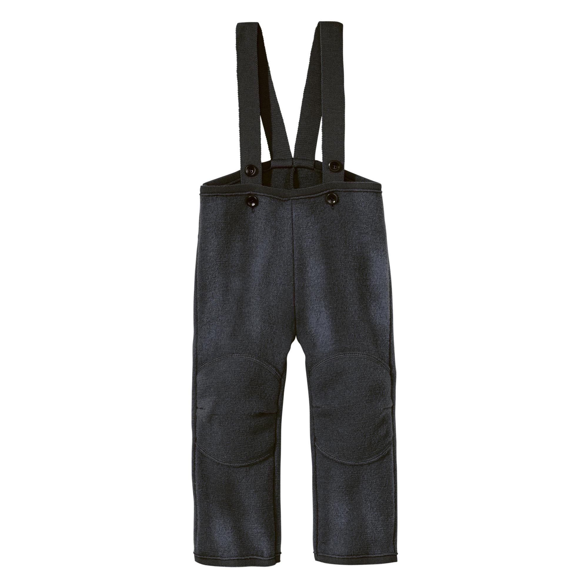 dd4c4de1b78 DISANA Flaušové kalhoty s laclem merino vlna antracit