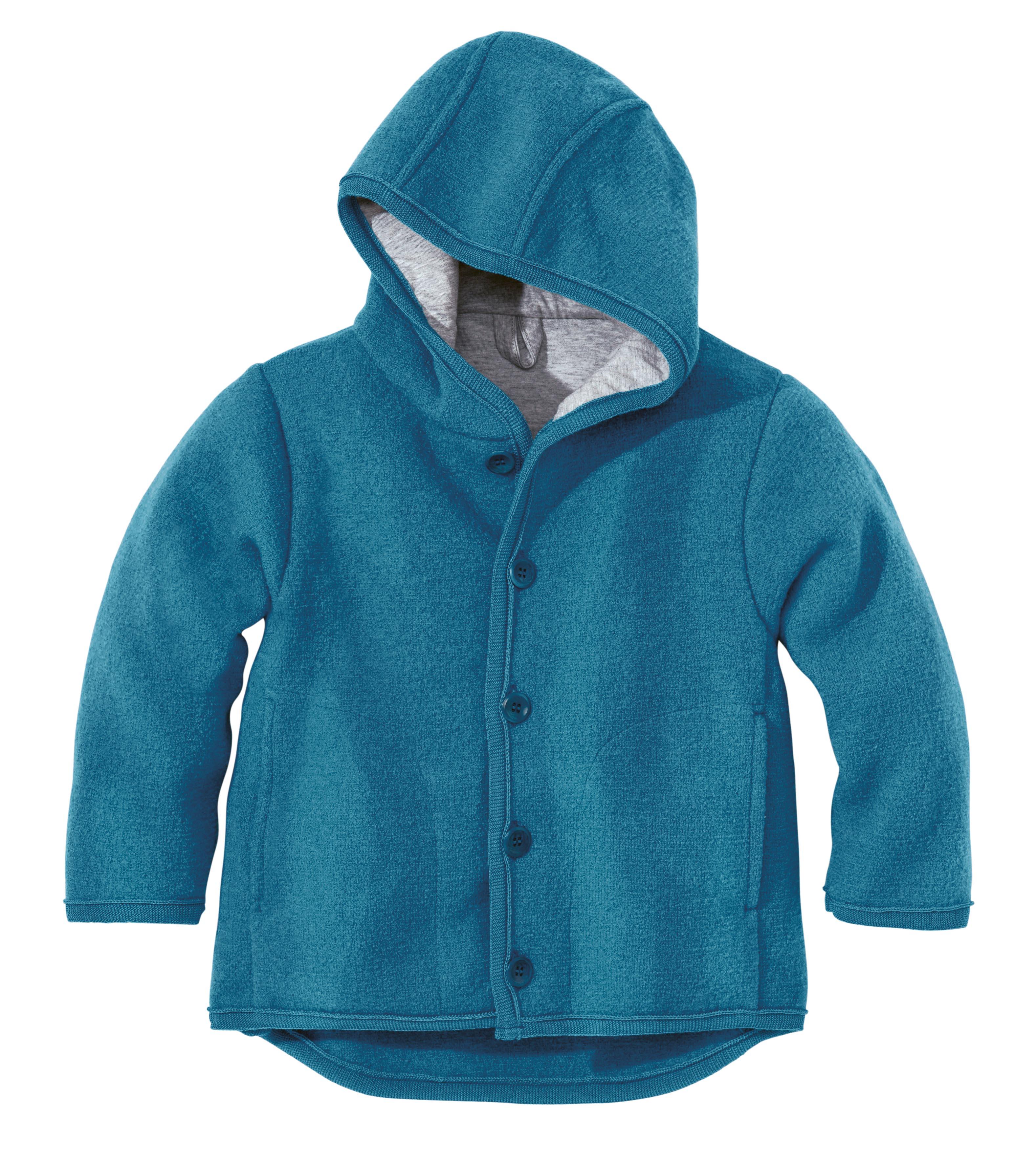 e56f82a6d95 DISANA Kabátek s kapucí merino vlna modrý
